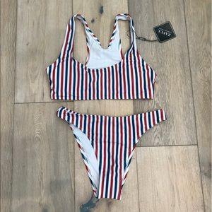 ee246cd46cbdb Colorful Striped High Cut Bikini Set - Stripe S